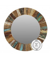 Liberty Reclaimed Indian Wood Round Mirror With Frame