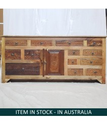 Indian Antique Hand carved Solid Wood sideboard 186x40x85cm