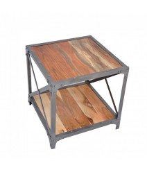 Angle Industrial French Lamp Side Table Natural 50x50cm