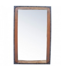 Angle Industrial Wall Bathroom Mirror Frame Natural 115cm