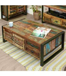 Aspen Reclaimed Wood Industrial  4 drawer Coffee Table