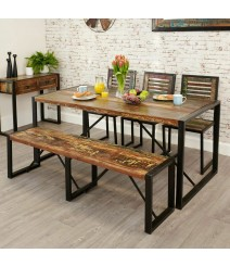 Aspen Reclaimed Wood Industrial 6 seater Dining Setting 180cm