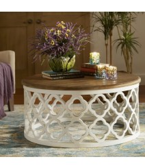Bristol Floral Carved Round Coffee Table White