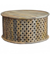 Bristol Carved Round Coffee Table Natural 70cm