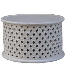 Bristol Carved Round Coffee Table White 70cm