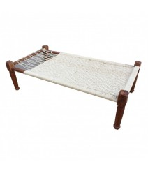 Indian Solid Wood Charpai Khat Manjhi Woven Charpoy Daybed Hand Woven White L