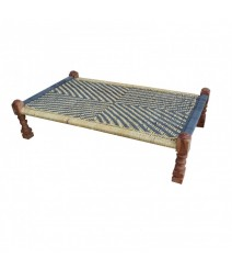 Indian Solid Wood Charpai Khat Manjhi Woven Charpoy Daybed Black & Brown