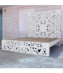 Dynasty hand carved Indian Solid wooden Amani bed frame White