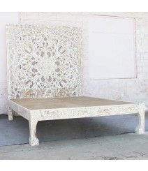 Dynasty hand carved Indian Solid wooden Nadia bed frame White