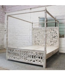 Dynasty hand carved Indian wooden 4 post bed frame White