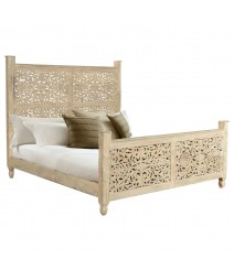 Dynasty hand carved Indian Solid wooden Emily bed frame White