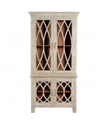 French Arched Glass Doors Cabinet Hutch
