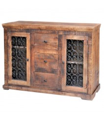 Reclaimed Wood Sideboard With 3 Drawers And 2 Cast Iron Detailed Doors Natural