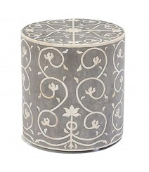 Maaya Brass Bone Inlay Round drum Side Table Grey Flower L
