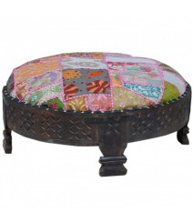 Tribal Grinder Round Small Ottoman Natural