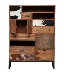 Lava Industrial Leather Tallboy cabinet dresser chest of 6 drawers