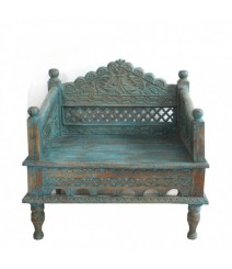 Mughal Garden Hand Carved Indian Single Chair low seat