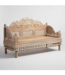 Mughal Garden Hand Carved Peacock Daybed Limewash S