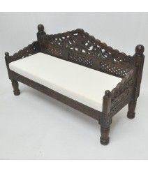 Mughal Garden Hand Carved Balinese Daybed Chocolate S