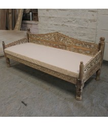 Mughal Garden Hand Carved Balinese Daybed Limewash L