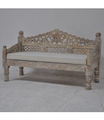 Mughal Garden Hand Carved Balinese Daybed Limewash S