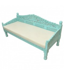 Mughal Garden Hand Carved Balinese Daybed Turquoise L