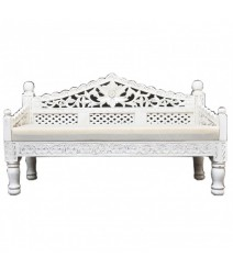 Mughal Garden Hand Carved Balinese Daybed White M