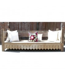 Mughal Garden Hand Carved Modern Daybed Natural