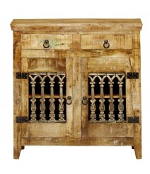 Reclaimed Wood Sideboard Cabinet Carved Doors 2 Drawers Natural