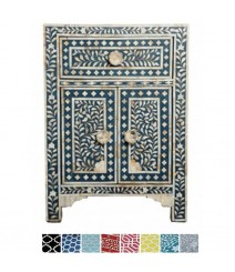 Maaya Mother of pearl Bedside cabinet Lamp table Blue