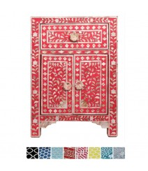 Maaya Mother of pearl Bedside cabinet Lamp table Red