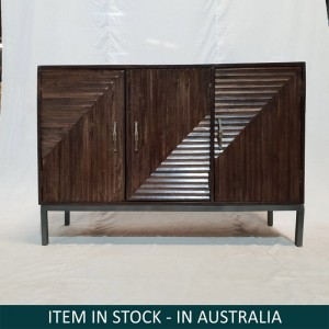 Contemporary Hand Carved Solid Walnut Brown Large Sideboard Buffet Hutch 2 Door