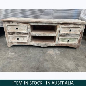 Boston Indian Solid Wood Tv Unit With Drawers Whitewash