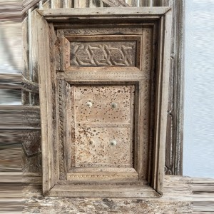 Indian Antique Solid Wood Hand Carved Small Door Natural 77cm