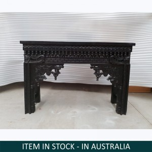 Mehrab Hand Carved Indian Solid Wood Console Hall Table Black