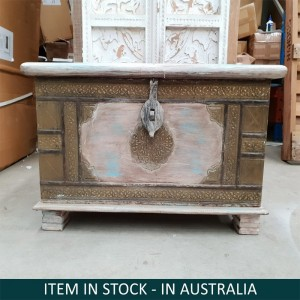 Brass Work Hand Painted Indian Solid Wood Storage Box White