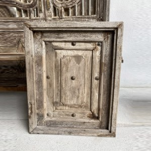 Indian Antique Solid Wood Hand Carved Small Door Natural 67cm B