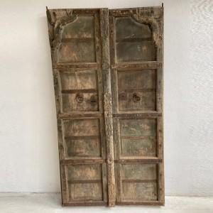 Indian Antique Solid Wood Hand Carved Amber Set Old Doors 182cm