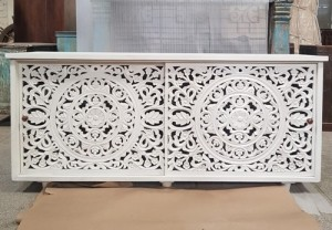 Antique Indian Jali Hand Carved Solid Wooden Beautiful Buffet Cabinet Sideboard 171x40x77cm