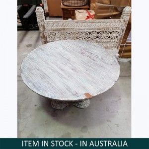 Boston Indian Solid Wood Round Coffee Table Whitewash
