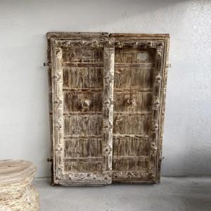Indian Antique Old Door Solid Wood Door Whitewash 168cm