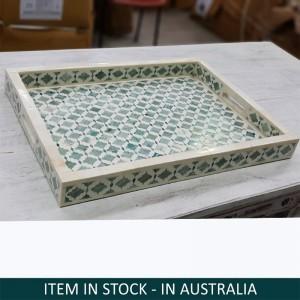 Maaya Bone Inlay Home Ware Serving Tray - Green