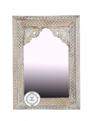 Indian Hand Carved Arch Mirror Frame 84x115 cm