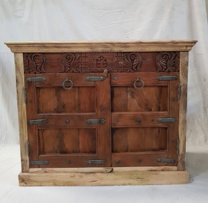 Antique Indian Hand Carved Solid Wooden Old Door Buffet Cabinet Sideboard  119x36x98cm