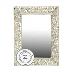 White Mirror In Carved Floral Frame