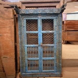 Indian Antique Old Door Hand Carved Jali Extra Large Door Blue