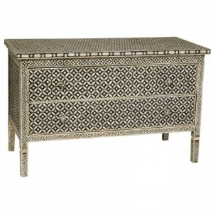 Maaya Bone Inlay Chest of Drawer sideboard Black and White