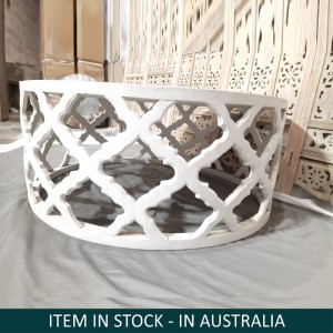Bristol Indian Solid Wood Hand Carved Round Coffee Table White