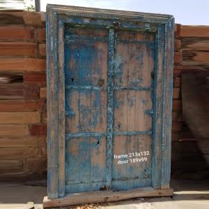 Indian Antique Old Door Extra Large Door Blue 213 x 132 cm