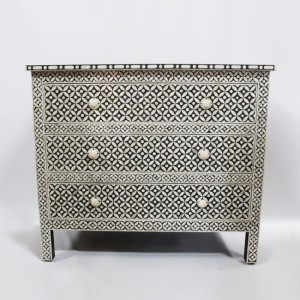 Maaya Bone Inlay Chest sideboard Black and White Floral